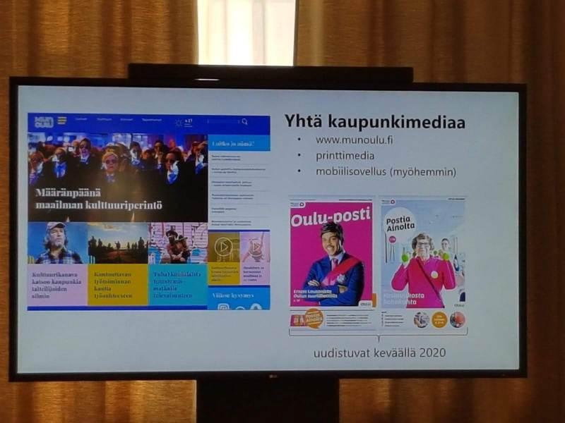 Oulun kaupungin viestintäjohtaja Mikko Salmen esitys kaupungin tuoreista viestintäsuunnitelmista herätti vilkasta keskustelua.